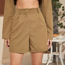 Fold Pleat Solid Shorts