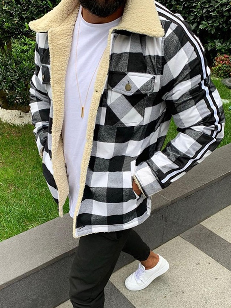 Ericdress Lapel Pocket Plaid Loose Thick Style Mens Jacket