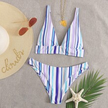 Colorful Striped Cheeky Bikini Swimsuit