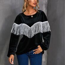 Drop Shoulder Fringe Trim Velvet Pullover