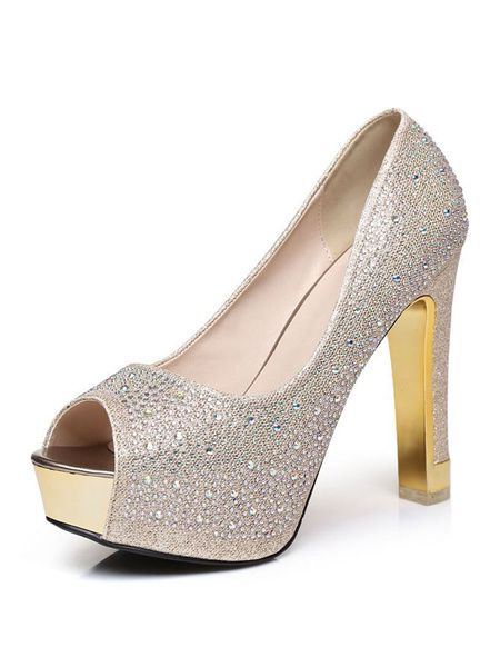 Milanoo Silver Peep Toe Prom Shoes Platform Crystal Glitter High Heels