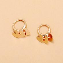 Heart Tassel Round Drop Earrings