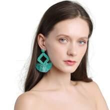 Bead Tassel Drop Earrings