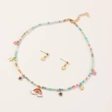 3 piezas set joya de niñitas con diseño de estrella