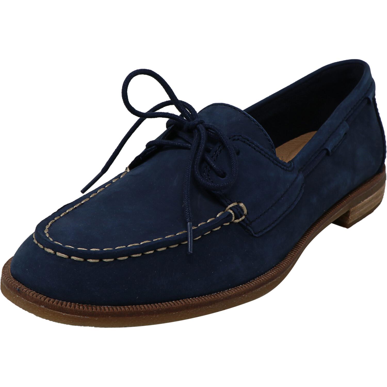 Sperry Women's Seaport Navy Leather Flat Shoe - 8M