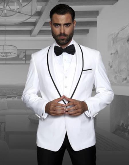 Mens Fashion Tux by STATEMENT Genova White
