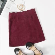 Scallop Waist Zipper Back Cord Skirt