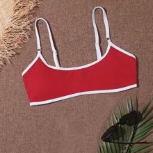 Ribbed Contrast Binding Bikini Top