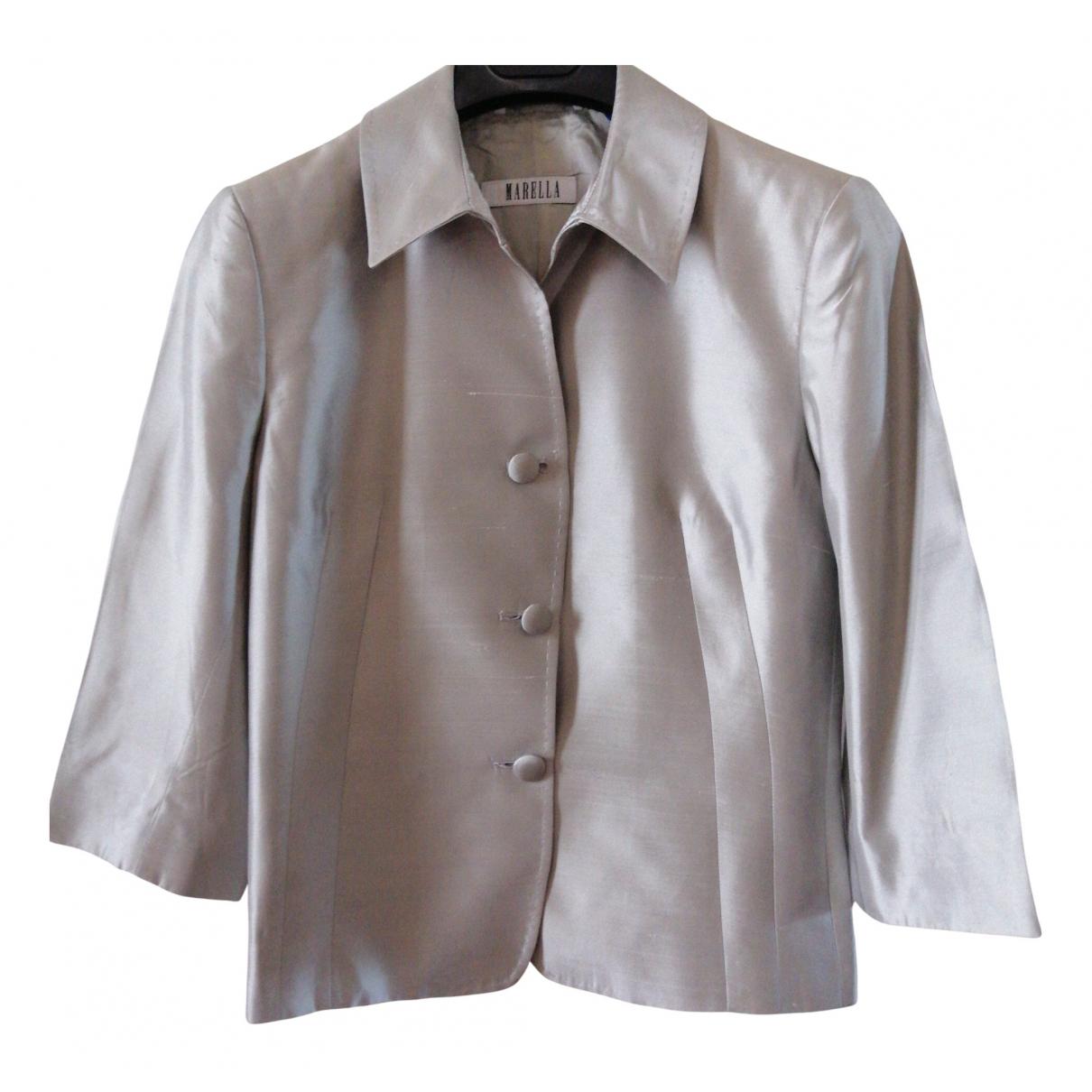 Marella N Grey Silk jacket for Women 40 IT