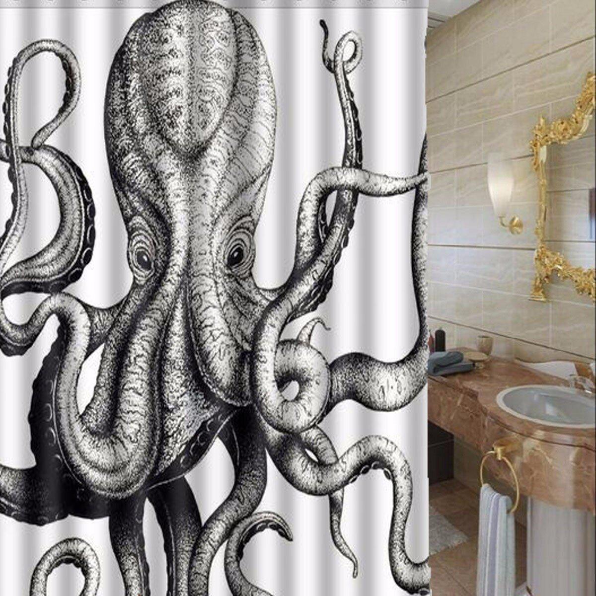 Octopus Bathroom Waterproof Shower Curtain Polyester Fabric Bathroom Curtain