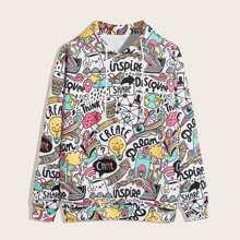Vielfarbig Ziehbaendchen Uberalles Muster Laessig Maenner Sweatshirts