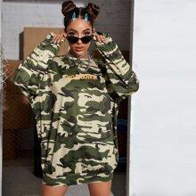 Drop Shoulder Letter Graphic Camo Sweatshirt Dress
