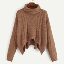 Plus Drop Shoulder Turtle Neck Sweater