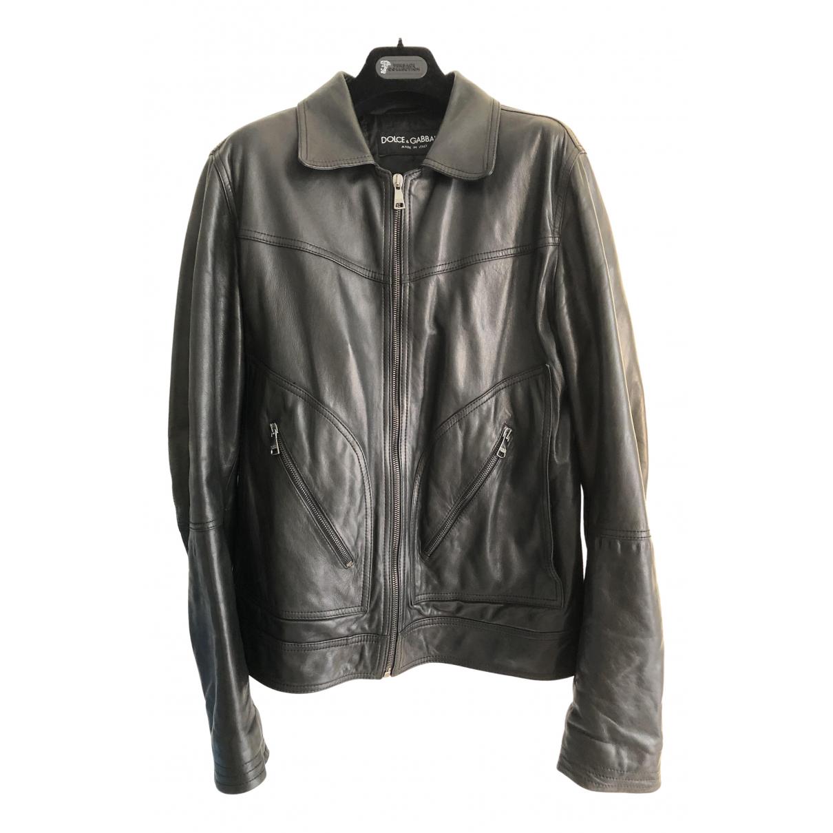 Dolce & Gabbana \N Black Leather jacket  for Men 48 IT