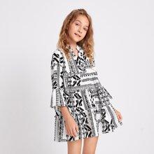 Girls Notch Neck Geo Print Smock Dress
