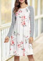 Floral Striped Splicing O-Neck Casual Dress - White
