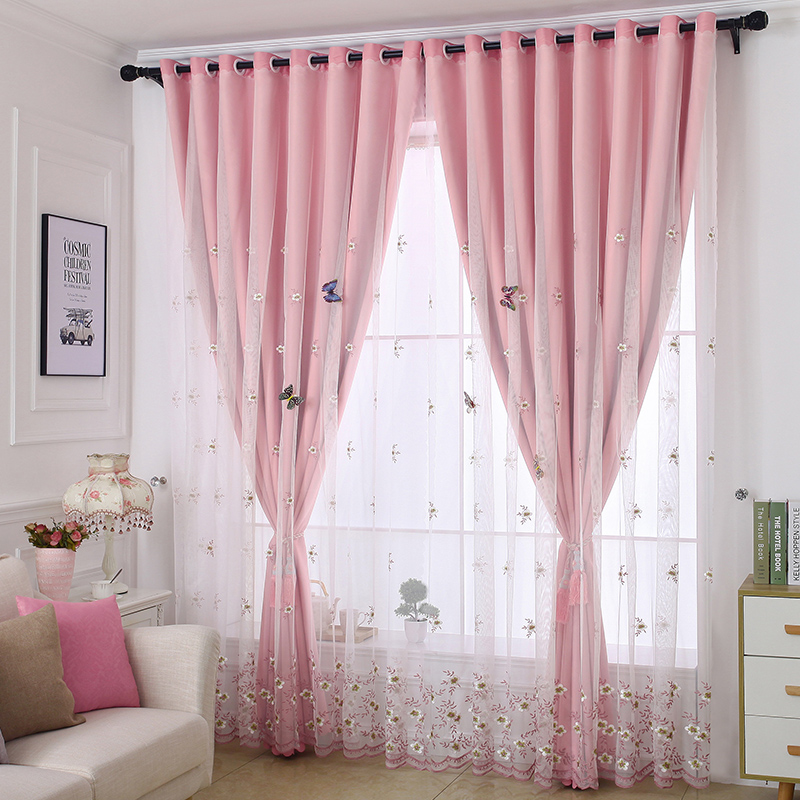 Embroidery Blackout and Decorative Cloth and Sheer Sewing Together Pink 2 Panels Curtain