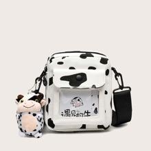 Bolsa bandolera con solapa con patron de vaca