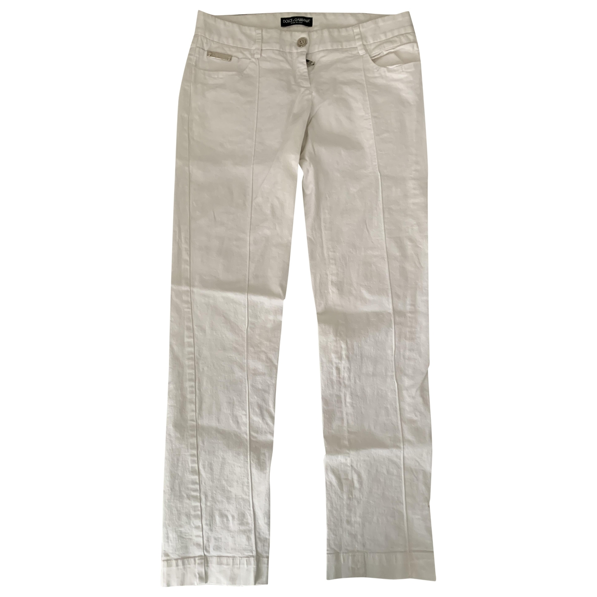 Dolce & Gabbana \N White Denim - Jeans Jeans for Women 38 FR