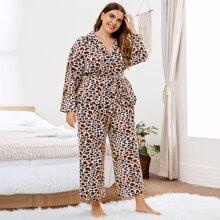 Plus Leopard Print Belted Top & Pants PJ Set