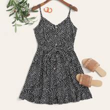 Dalmatian Print Button Front Shirred Back Cami Dress