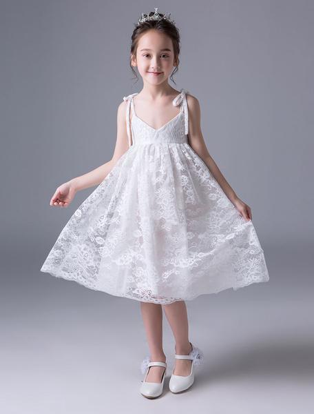 Milanoo Lace Flower Girl Dresses Ivory V Neck Kids Slip Dress Knee Length Short Party Dresses