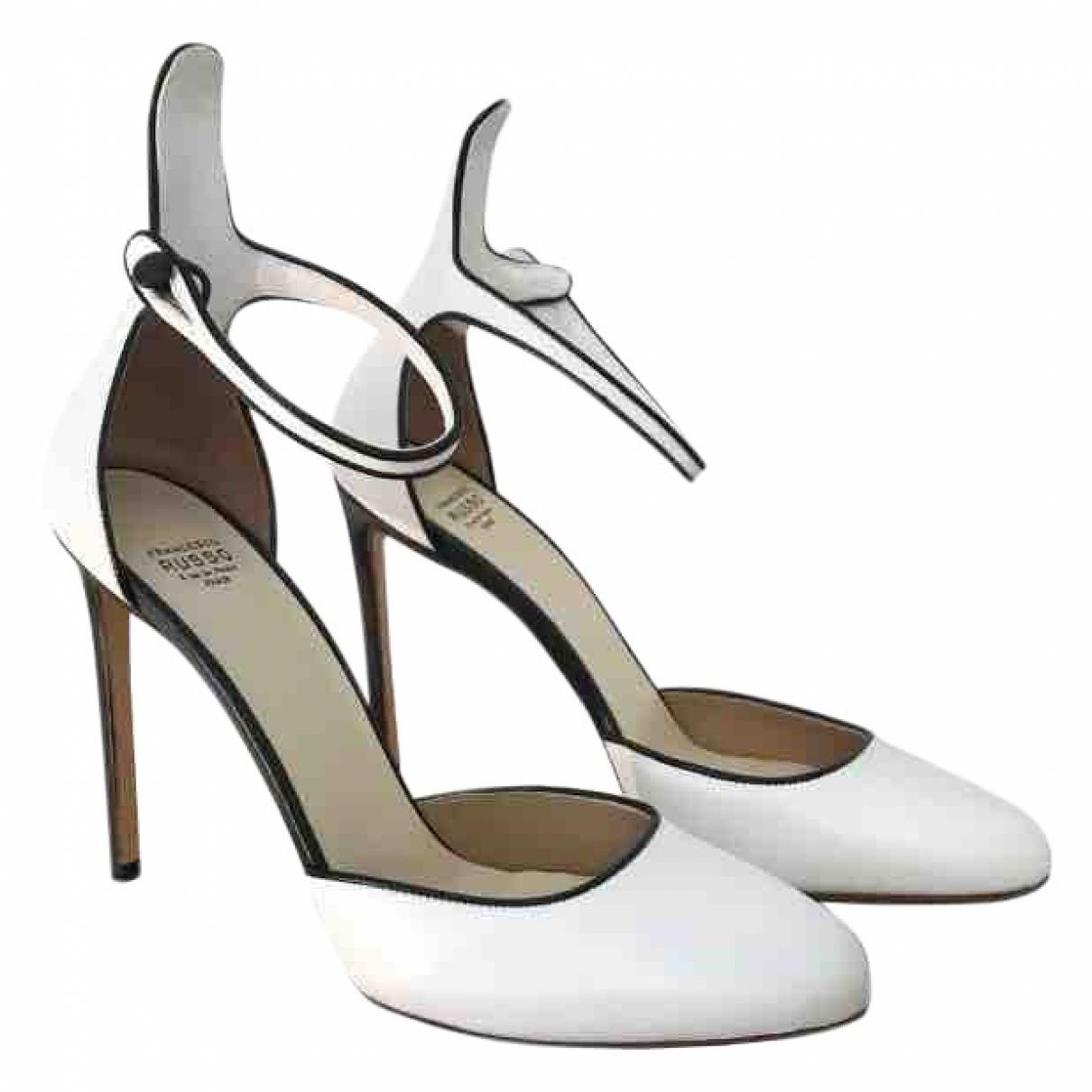 Francesco Russo \N White Leather Heels for Women 39 EU