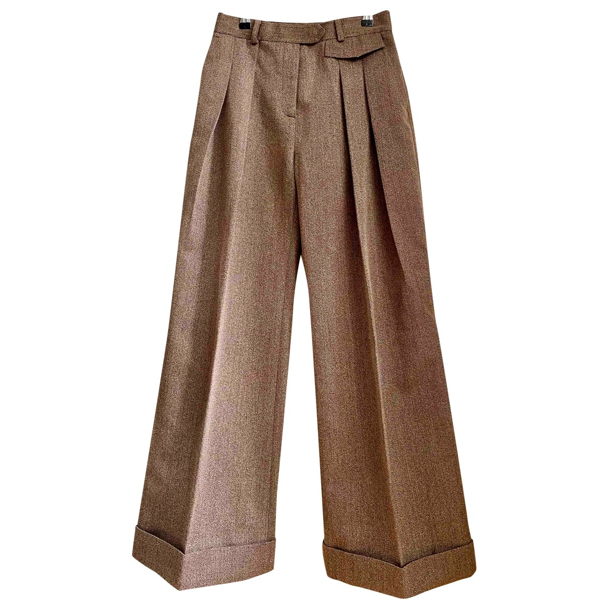Victoria, Victoria Beckham \N Brown Wool Trousers for Women 8 UK