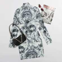 Chinese Dragon High Neck Mesh Bodycon Dress