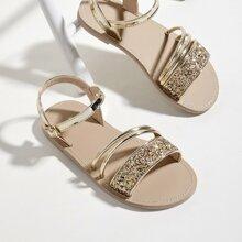 Toddler Girls Metallic Glitter Decor Sandals
