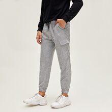 Pantalones con solapa de cintura con cordon