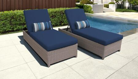 Monterey Collection MONTEREY-W-2x-NAVY Set of 2 Chaises - Beige and Navy