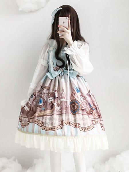 Milanoo Lolita clasica JSK Estampado Ruffle Bow Encaje Algodon Slub Lolita Jumper Falda
