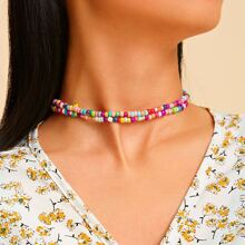 Colorblock Beaded Necklace 2pcs