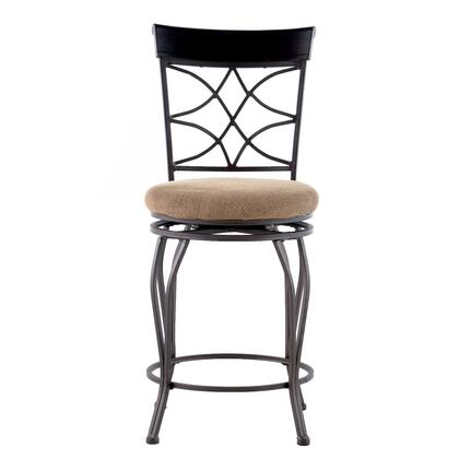 02728MTL-01-KD-U Curves Collection Counter Height Stool with Iron Metal Frame and Polyester Upholstery in