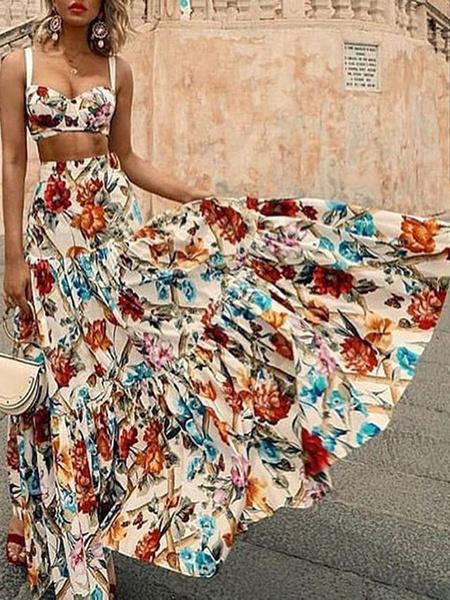 Milanoo Two Piece Sets Orange Polyester Straps Neck Floral Print Ruffles Bohemian Women\'s Long Dress