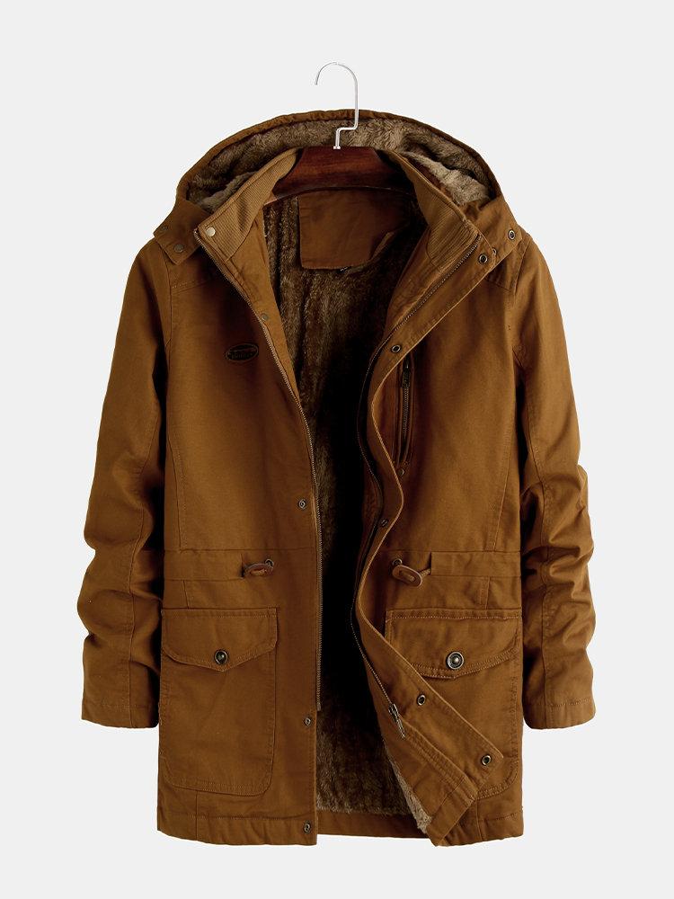 Mens Plain Cotton Solid Color Plush Fleece Multi Pockets Hoodies Jackets