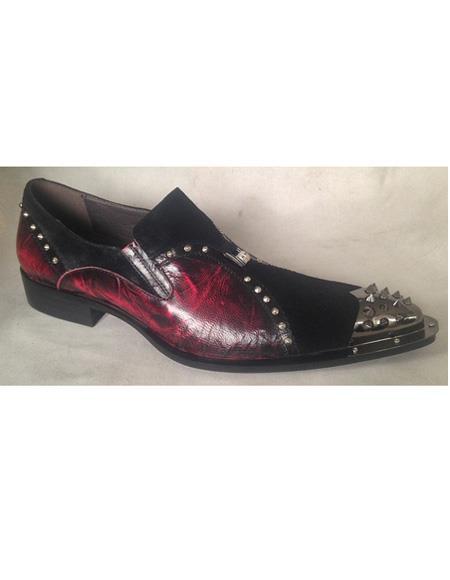 Men's Black ~ Burgundy Leather Slip On Cushioned Insle Shoe