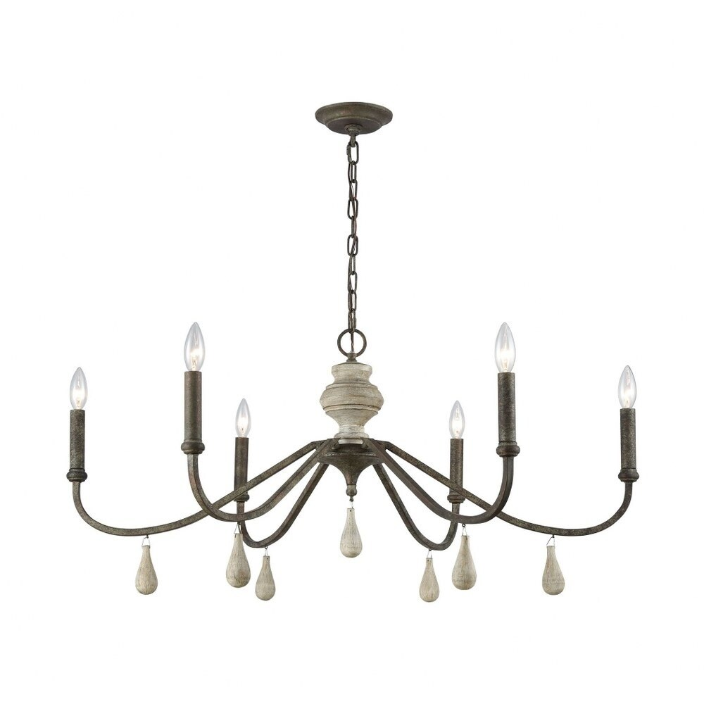 Coastal-Beach 6-Light  Malted Rust Gray Wood Finish Chandelier Made Of Metal Wood - 17X38 Inches (Malted Rust Gray Wood)