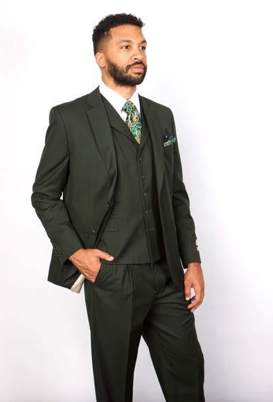 Men's Lapel 1 Wool Green Single Breasted 5 Button Lapel Vested Suit