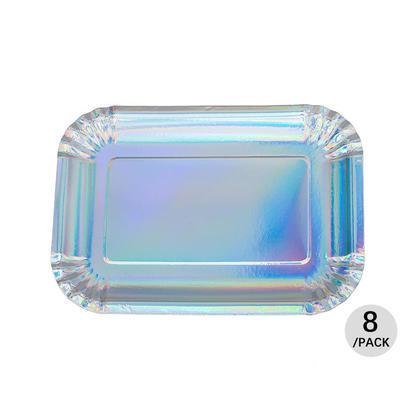 Assiette rectangulaire en papier 19 * 27cm, irisé brillant, 8 pcs - LIVINGbasics™