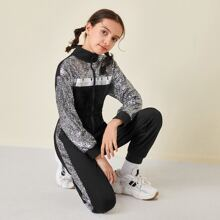 Girls Zip Up Letter Graphic Sequin Shoulder Jumpsuit