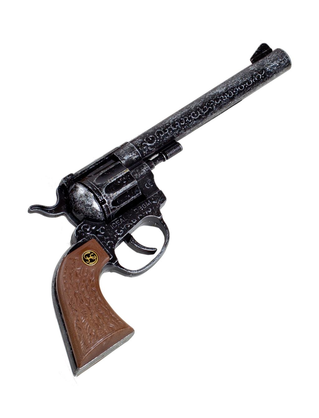 Kostuemzubehor Pistole Buntline Plastikgriff 12-Schuss Farbe: silber