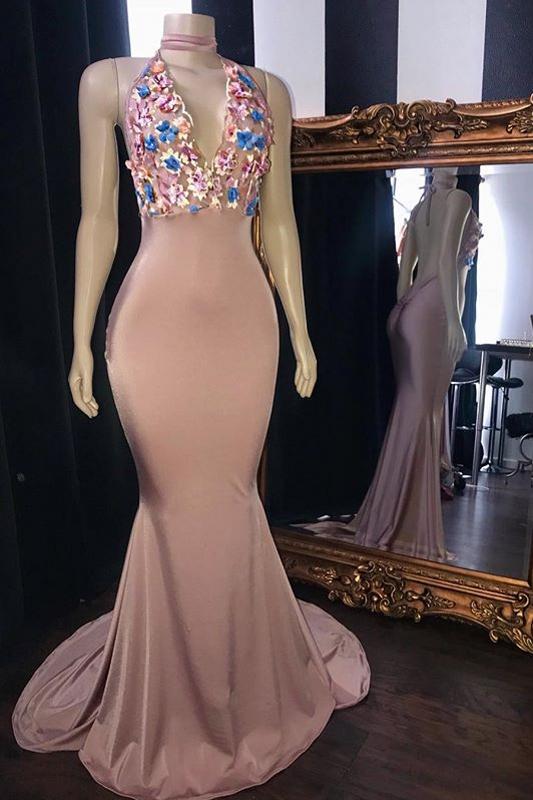 Rosa flores apliques sirena vestidos de fiesta largos | Vestidos de noche de cuello en V sin mangas de glamour
