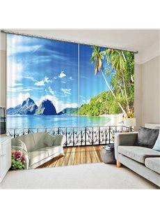 3D Green Palm Trees and Blue Sea Printed Beach Scenery Outside the Balcony Curtain