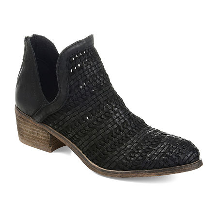 Journee Signature Womens Dakota Stacked Heel Zip Booties, 9 Medium, Black