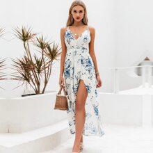 Lace Up Backless Wrap Hem Floral Cami Dress