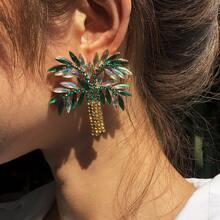 Ohrringe mit Edelstein und Baum Design