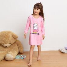Toddler Girls Cat & Heart Print Night Dress