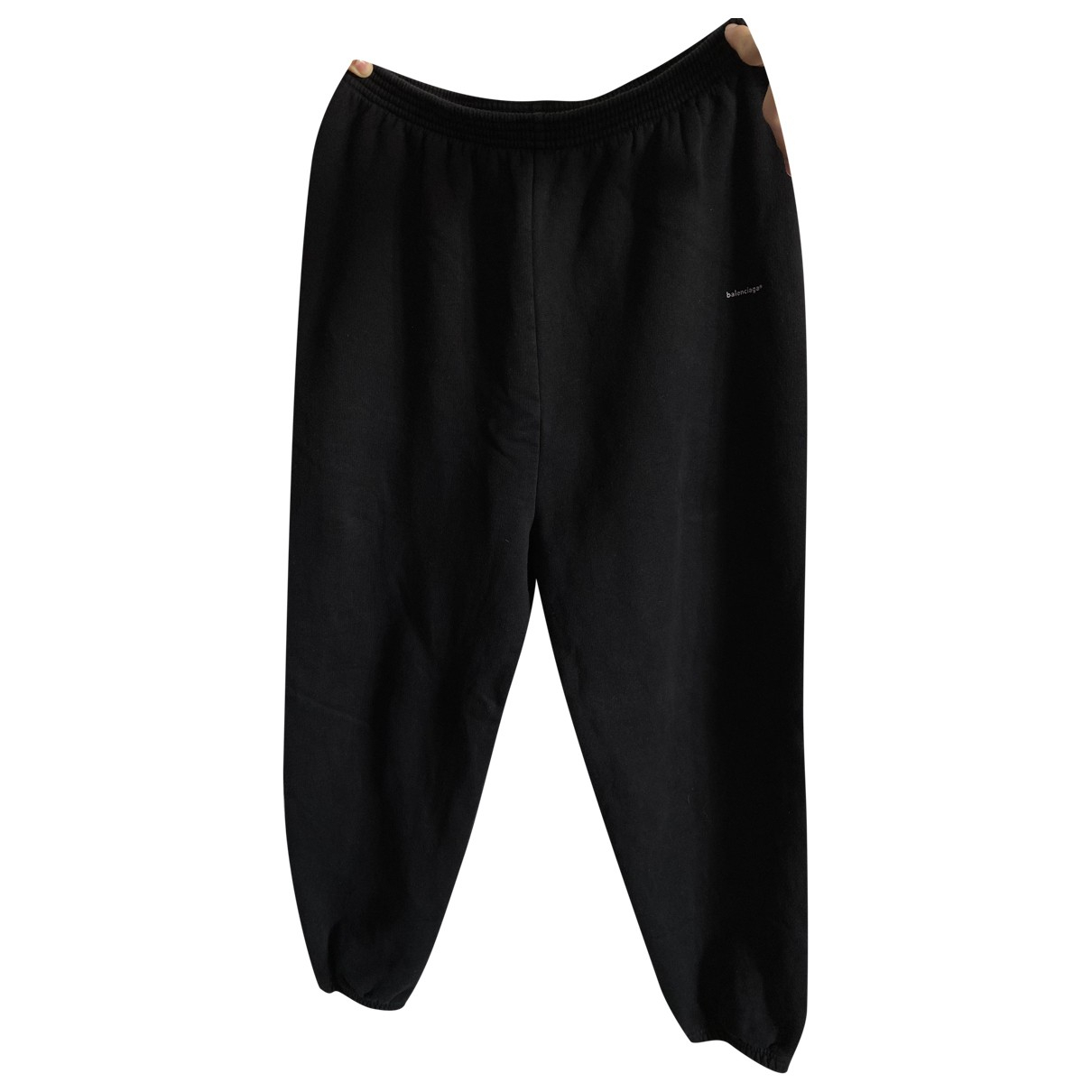 Pantalones en Algodon Negro Balenciaga